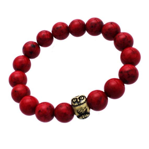 Owl Bracelet - Red Coral - Brass Owl