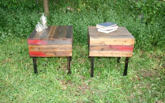 VENTA par de encargo de la madera de noche granero de la tabla en el otoño de rústica