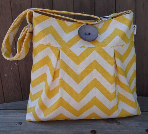 Yellow Chevron Messenger Bag Purse Handbag Adjustable Strap 5 Large Pockets