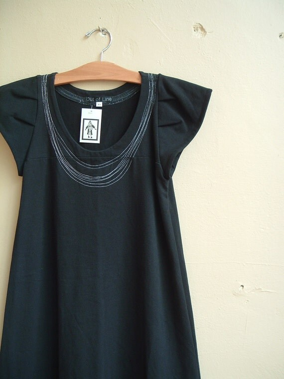 Necklace Dress Black Cotton Jersey- made to order