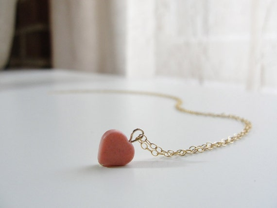 Teeny tiny pink rhodolite heart gold necklace