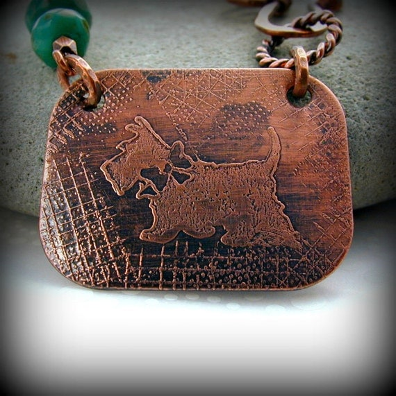 My Little Scottie Handmade Etched Copper Scottie Dog Asymmetrical Necklace