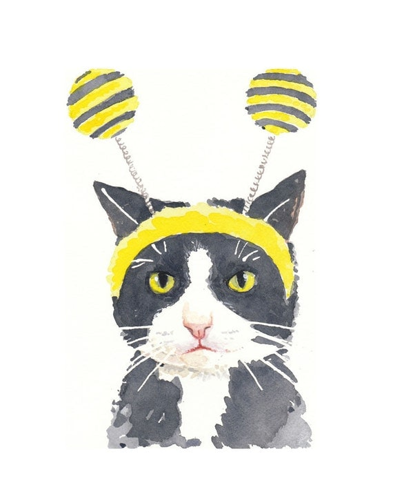 ORIGINAL Cat Watercolor Painting - Playing Dress Up 8x10