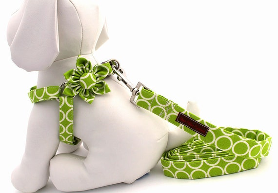 Step-In Dog Harness, Leash and Flower Set....Size Small.........Your Choice of Any Style in the Shop