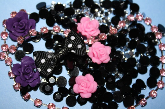Darkly romantic nohole flatback beads & flowers  by MottoMiquette
