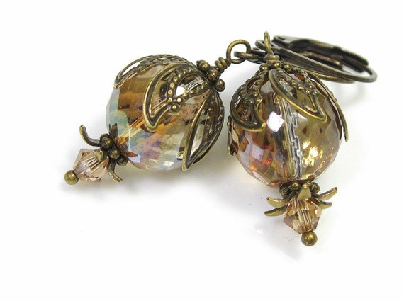 Vintage Style Earrings, Vintage Style Jewelry, Czech Glass, Antiqued Brass, Honey Luster