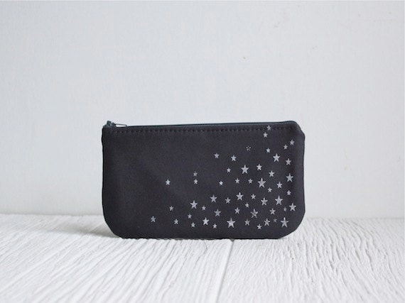 Zipper Clutch, Star Print Purse, Charcoal Gray, Organic Bag