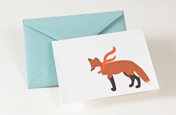 5 Blank Holiday / Christmas Cards - Red Fox with Scarf
