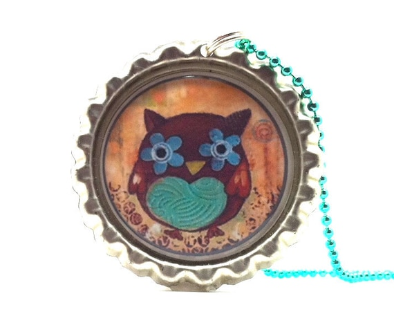 Necklace, Owl, Bottle Cap in Teal and Orange