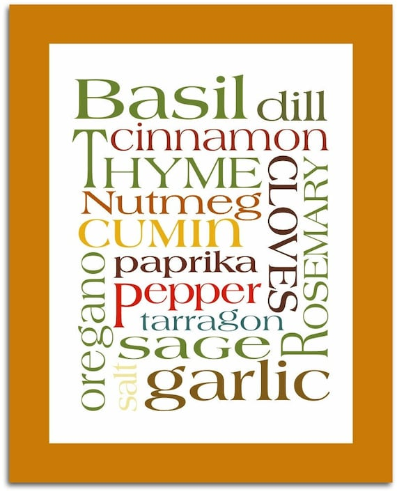 Art Poster Subway Kitchen Herbs & Spices Print 8x10