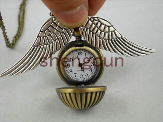 harry potter golden snitch Enchanted Steampunk Watermelon balls Double Sided wings Pocket Watch Necklace harry potter pocket watch