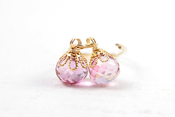 Pink Drop Earrings - simple everyday gemstone dangle earrings with 14k gold filled long ear hooks