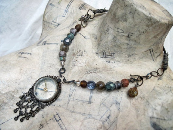 Neptune. Tribal Steampunk Assemblage Necklace.