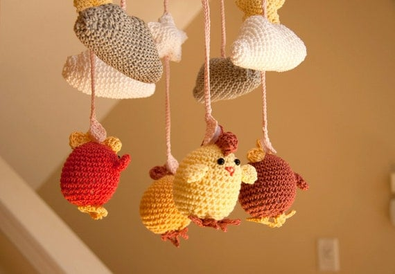 Custom Made Cute Crocheted Chicken Baby Mobile