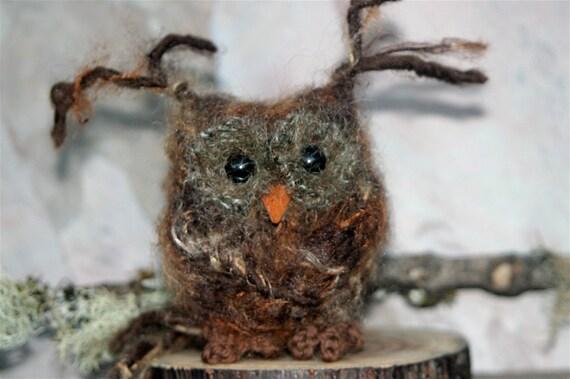 Brown Baby Owl ... knit fuzzy eco felt owl (woolcrazy)