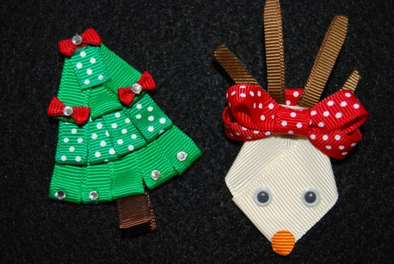 Christmas Tree Rudolph the Red Nosed Reindeer Hair Clip Barrette great Stocking Stuffer Accessory