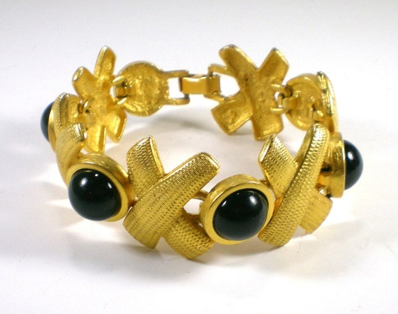 Vintage Gold Matte Bracelet With Black Lucite by paleorama on Etsy from etsy.com