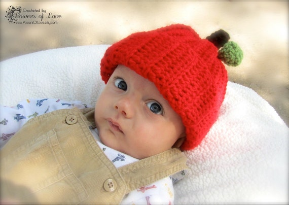 Apple Hat Crocheted 3-6 months - Made To Order