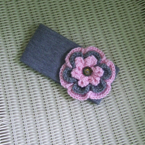 Ear Warmer Winter Headband Grey with Big Flower