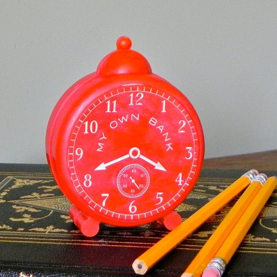 Vintage bank - red plastic alarm clock - My own Bank