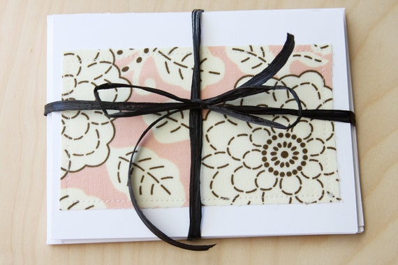 Note Cards - Pink with Flowers Fabric - Set of 4 (Blank)