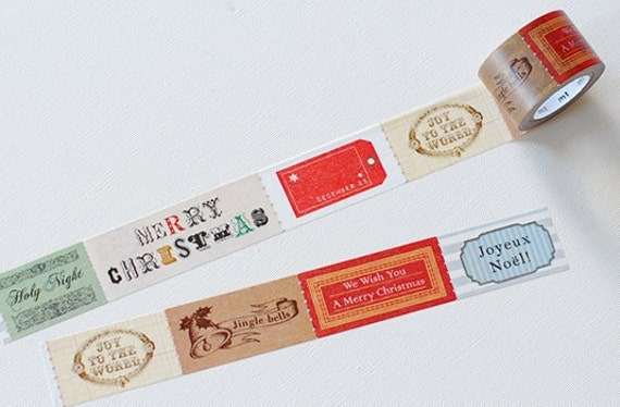 NEW Japanese washi masking tape Xmas Tag