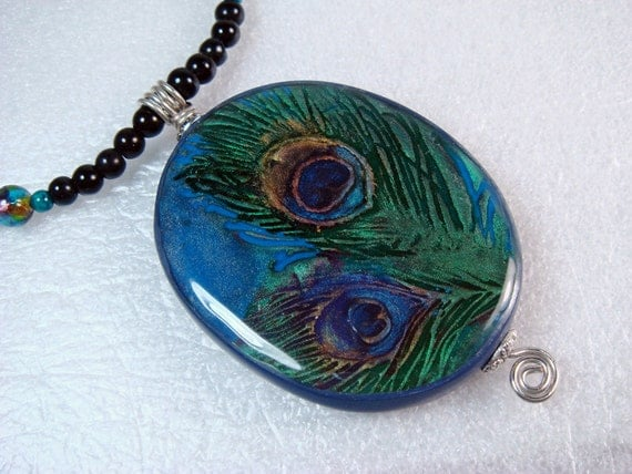 Handmade Jewelry Polymer Clay and Resin Peacock Feathers Necklace