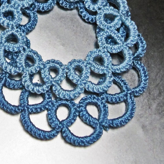 Tatted Lace Necklace . Blue layers . FREE SHIPPING