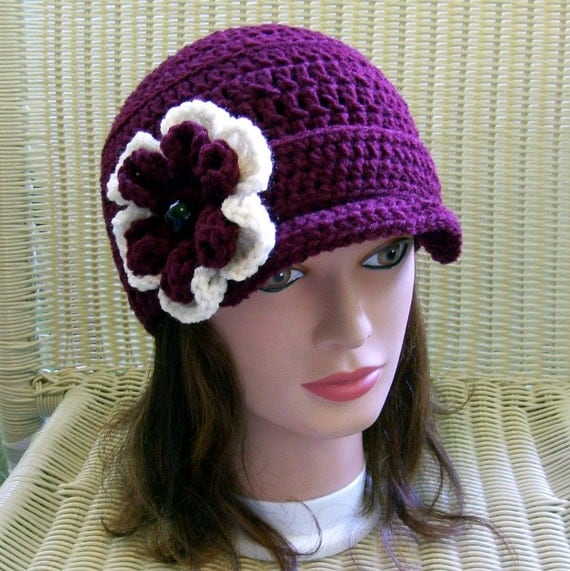 Crocheted Newsbo Hat Claret with Removable Flower Pin