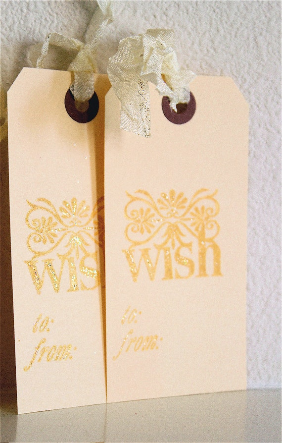 W i S H . Gold 4 TAG Set . Christmas I'm in a TREASURY Seam Binding Gift Baby Wedding Shower Party November December January STAMP 1241