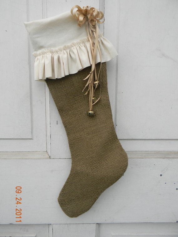 Beautiful Burlap and Muslin Ruffled Christmas Stocking