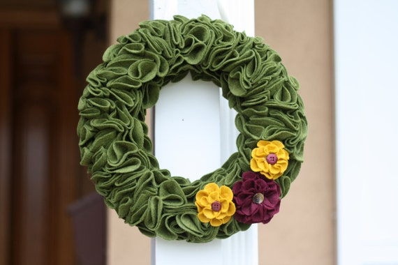 Wreath Home Decor Thanksgiving Green Felt with Flowers Door Hanging