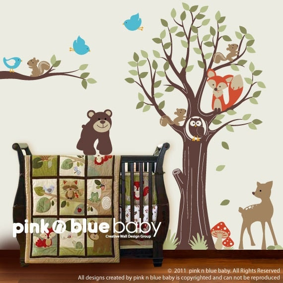 Wall decal, Adorable Animal Friends with Tree - Kids Vinyl Wall Sticker Decal Set