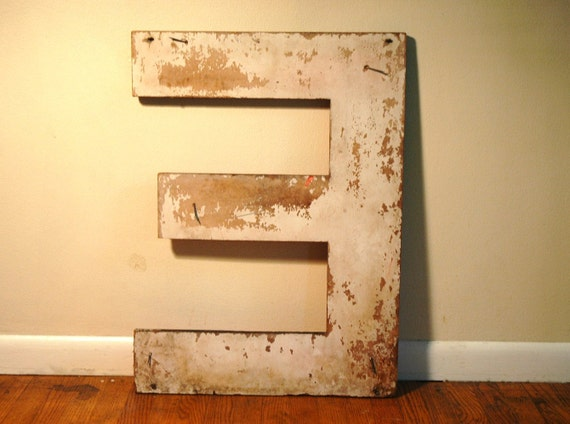 Vintage Wooden Letter E - Salvaged Industrial Marquee Sign