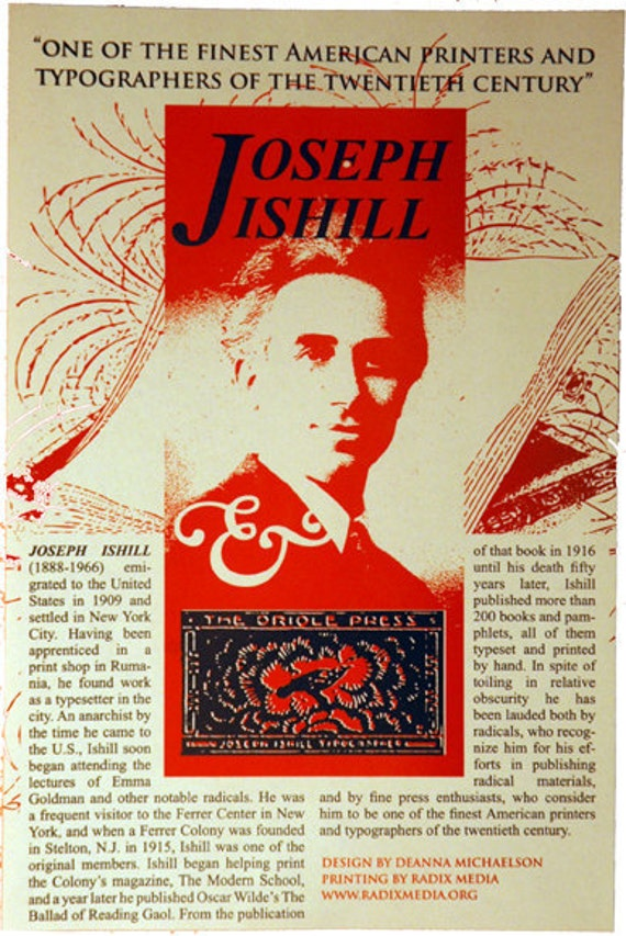 2 color Joseph Ishill Offset Poster, Radix Media