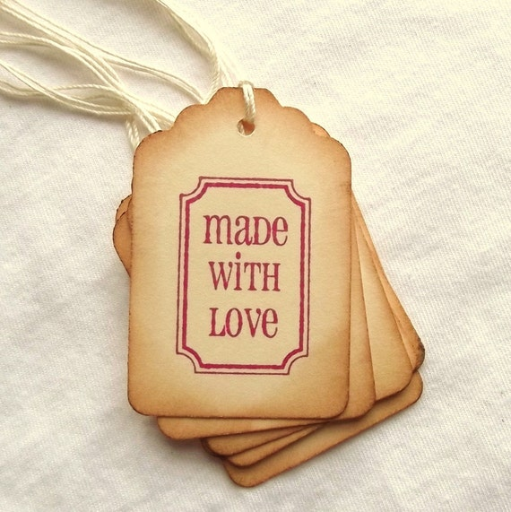 Made with Love Tags, with Border, Pink, Red, Vintage Inspired, Ornate Frame 8