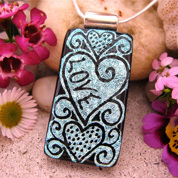 LOVE Dichroic Fused Glass Pendant,  OOAK Hand Etched Love Heart Design, Unique Dichroic