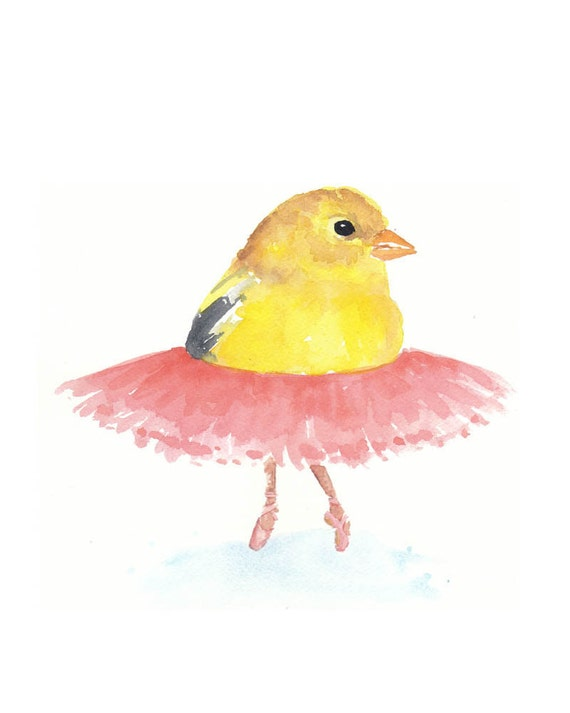 ORIGINAL Bird Watercolor Painting - Ballet Birdie No.14 8x10