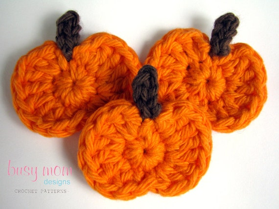 CROCHET PATTERN - Simple Pumpkin Appliqué - Motif - Embellishment - Great for any Autumn or Halloween Project - PDF 206
