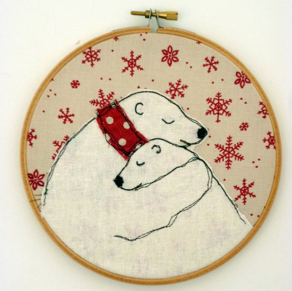 Embroidery Hoop 'Bear Hug' Polar Bears in Snowflakes