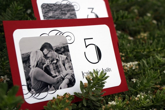 Art Deco Personalized Photo Table Cards - Custom Colors Available