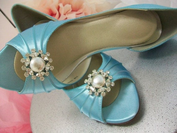 Blue Shoes Pearl Tiffany Blue Wedding Bridal Bride High Heels Prom Special Occasion Peep toe