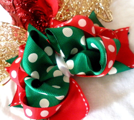 Girls Boutique Layered Hair Bow - Happy Holidays Boutique Bow - Christmas Bow, Winter, Holiday, Green, Red