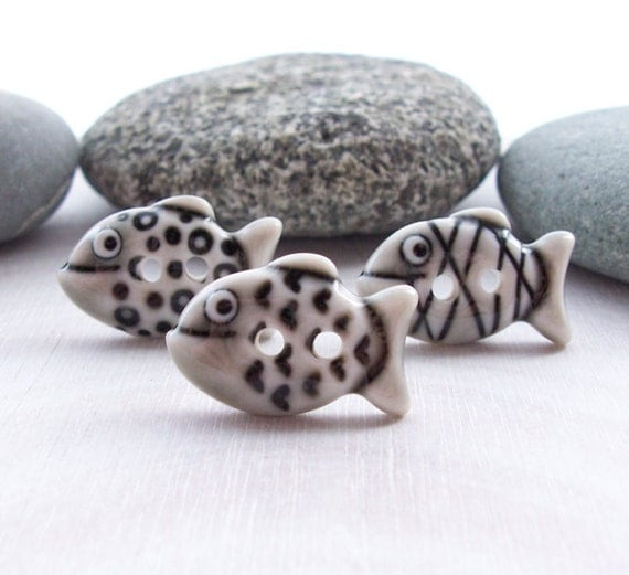 Fish Buttons Warm Grey Glazed Handmade Porcelain