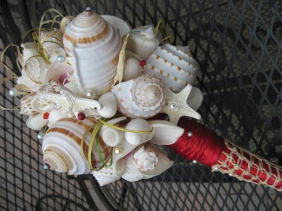 Red Romance of the Sea Romantic Antique Lace Natural Seashell Bouquet mixed with Starfish