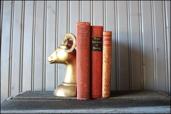 v i n t a g e brass ram bookend