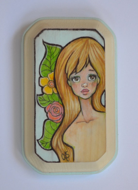 Painting on Wood- Floral Island Pinup Girl