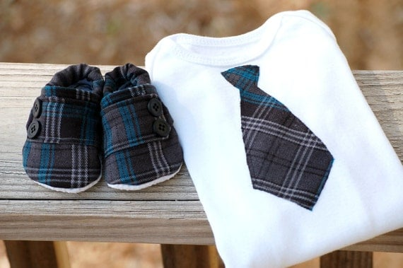Baby boy tie onsie and shoes set - great gift set