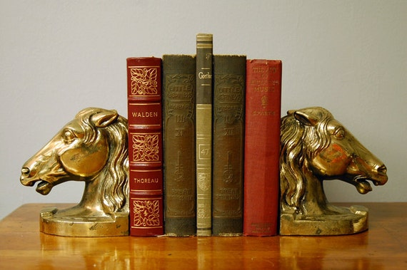 Beautiful Brass Horse Head Bookends