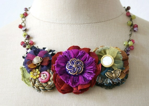 Festive colorful statement bib necklace fabric flowers in fushia blue